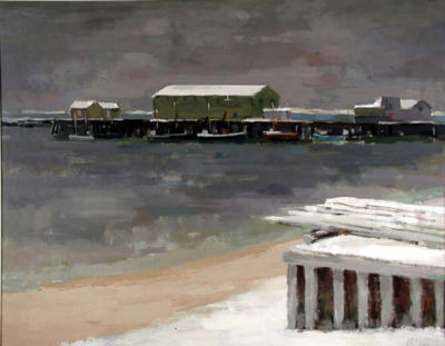 "Bruce McKain, Provincetown Winter Waterfront, oil on canvas, 28"" x 36"""